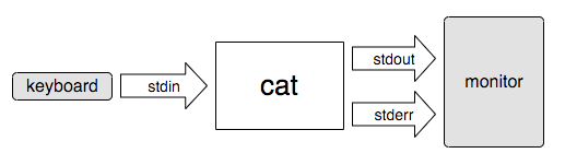 "A flowchart showing the data coming in from the keyboard through ""stdin"" and going through ""cat"", ""stdout"", and ""stderr"" to a monitor"