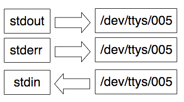 "An image showing three boxes with ""stdout"", ""stderr"" and ""stdin"" and three arrows pointing to the right to three other boxes with ""/dev/ttys/005 written on them"